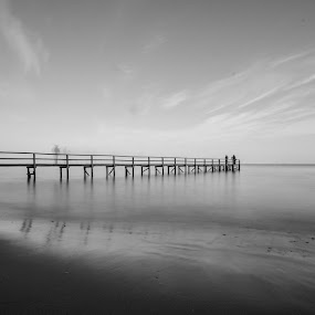 Long Pier by Eliza Jane - Black & White Landscapes ( sky, melbourne, black and white, pier, ocean, seascape, jetty, longexposure )