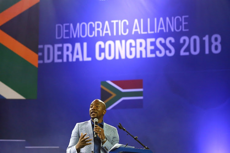 DA leader Mmusi Maimane delivers his closing address at the party's federal congress in Tshwane, April 8. Picture: MASI LOSI