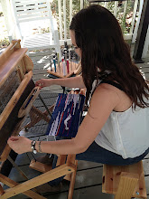 Photo: christina a new student weaving . she is a designer for Levi Strauss