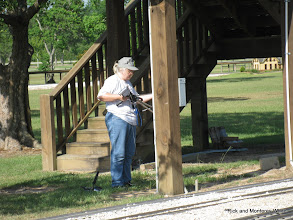Photo: Mary Lou Pasley setting up her video.   HALS 2009-0620