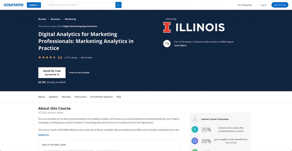 Digitale Analyse für Marketing-Profis: Marketing-Analyse in der Praxis – University of Illinois