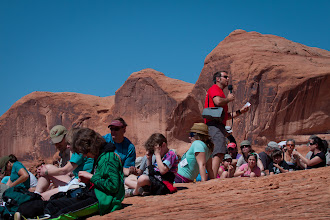Photo: Rabbi Evon Yakar teaches at the lunch stop, during the Adventure Rabbi Passover in Moab, Utah Seder.