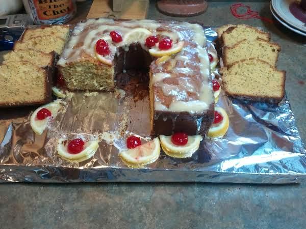 Low Sugar Poppy Seed Pound Cake With Cream Cheese & Splenda Glaze