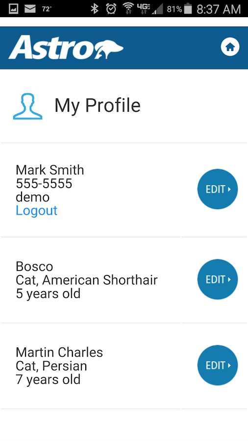Astro Loyalty Pet Owner App- screenshot