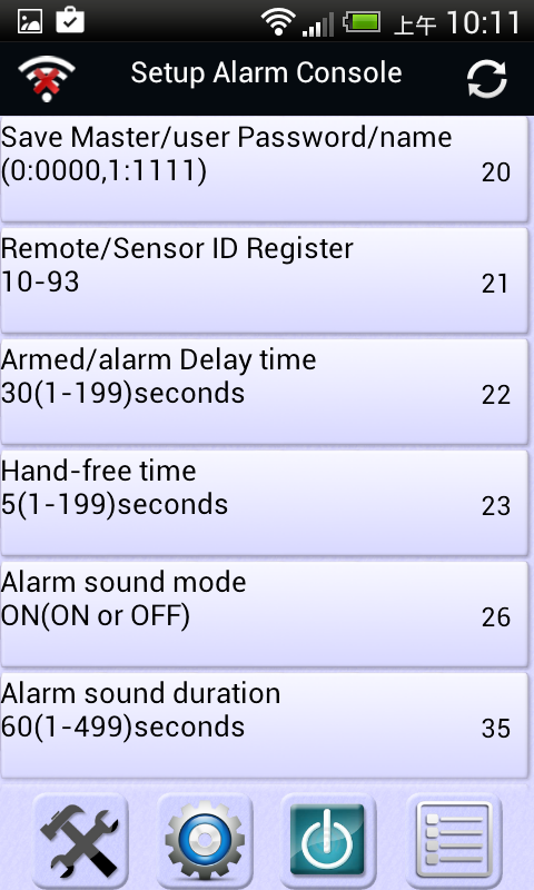 Fronti Alarm Setting app- screenshot
