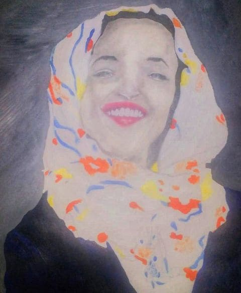 A sketch of US Representative Ilhan Omar (D-Minn), drawn by South Sudanese Nyamouch Hoth, 21, in Dadaab refugee camp