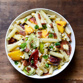 Smoky Heirloom Tomato and Grilled Peach Pasta Salad with Basil Vinaigrette.