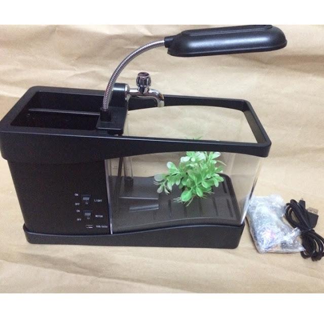 Bể cá phong thủy mini kiêm đồng hồ để bàn và đèn led