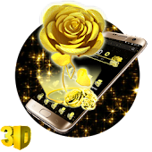 3D Black Gold Rose Theme