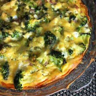 Sweet Potato Broccoli Bacon Quiche.