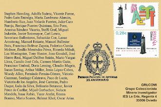 Photo: Matasellos Primer Día de la emisión de la serie de sellos de los Premios Príncipe de Asturias en su 25 aniversario