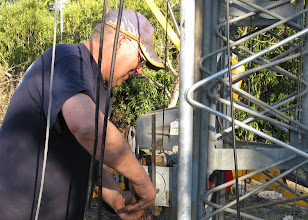 Photo: Mike arrives Friday to do some custom work to fix the worm drive on the wench so we can raise the antennas Saturday.