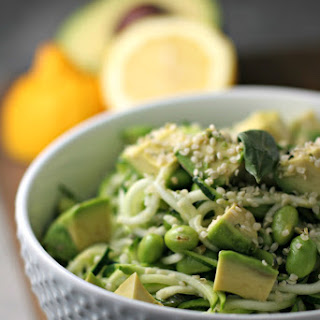 Avocado And Edamame Zucchini Noodles.