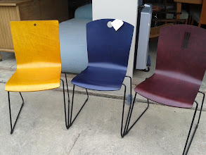 Photo: STACKING WOOD CHAIRS, THREE COLORS, 16 AVAIL.