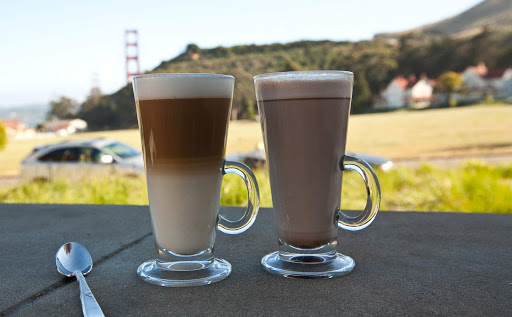 Lattes-Cavallo-Point - Lattes, and a great view, on a summer afternoon at Cavallo Point in Marin County.