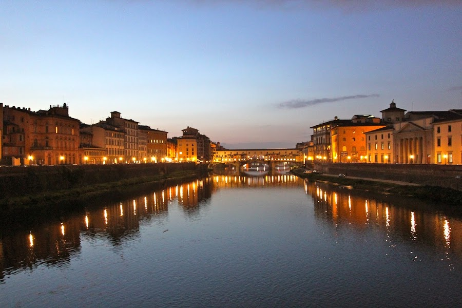 Twilight in Florence by Jason Kiefer - City,  Street & Park  Vistas ( florence, italy, , snow, winter, cold )