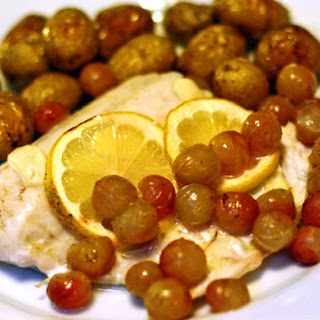 Walleye With Roasted Grapes and Fingerling Potatoes.