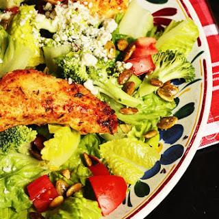 Chicken Strip Salad with Blue Cheese & Pumpkin Seeds.