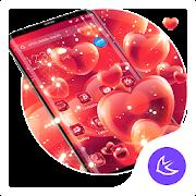 Red Love Heart APUS Launcher theme APK
