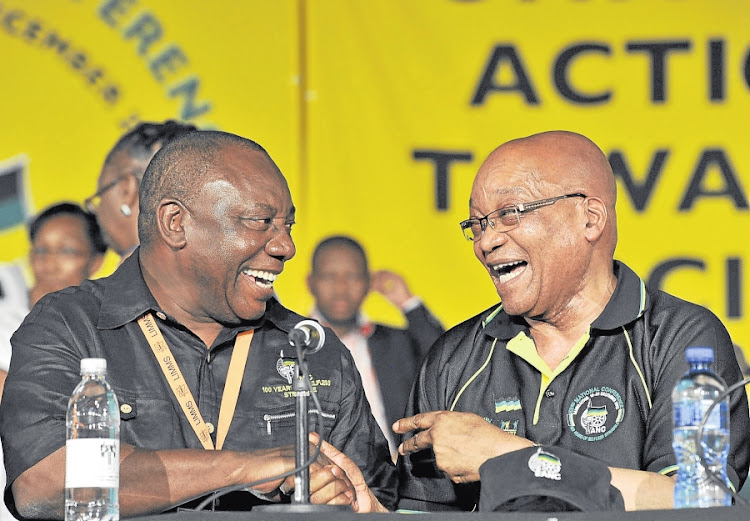 ANC president Cyril Ramaphosa shakes hands with former president Jacob Zuma at the party's national conference. Picture: MUZI NDLOVU