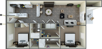 Go to Two Bedroom Flat Floorplan page.