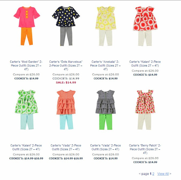 Photo: Next, I moved over to the Girls department, specifically searching for Carter's outfits.  We love Carter's!