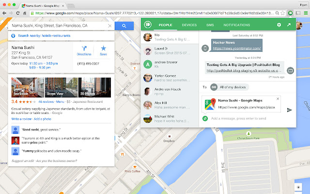 Pushbullet is a Swiss Army knife for messaging from Chrome