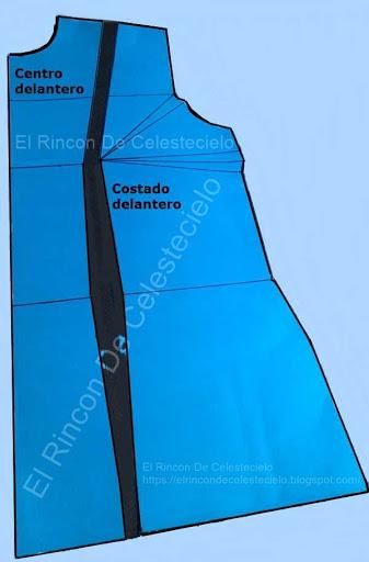 Patrón delantero de blusa dividido en centro y costado delantero