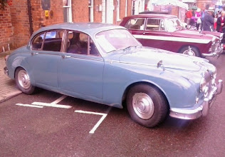 Photo: A lovely coloured 1961 2.4 Jag.  Wikipedia waxes lyrical about specifications,  but has little of interest other than the original book forerunner of Inspector Morse had him driving a Lancia..