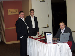 Photo: Stephen Lynch, Patrick St-Onge, and Philippe Lemieux at the sign-in desk