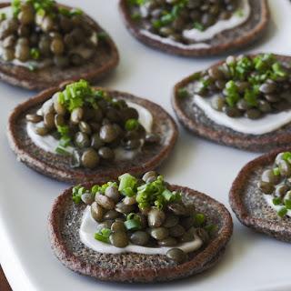 Beluga Lentil Caviar on Blini