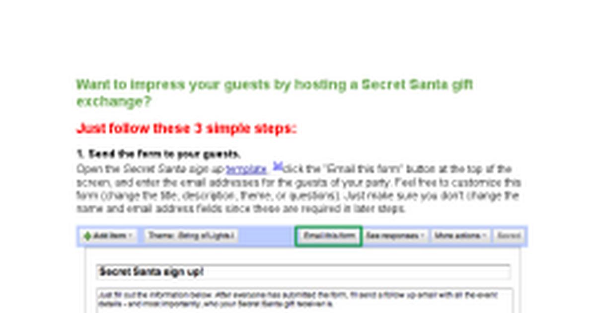 secret santa instructions google docs. Black Bedroom Furniture Sets. Home Design Ideas
