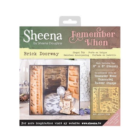 Sheena Douglass Remember When 8X8 Stencil - Brick Doorway UTGÅENDE