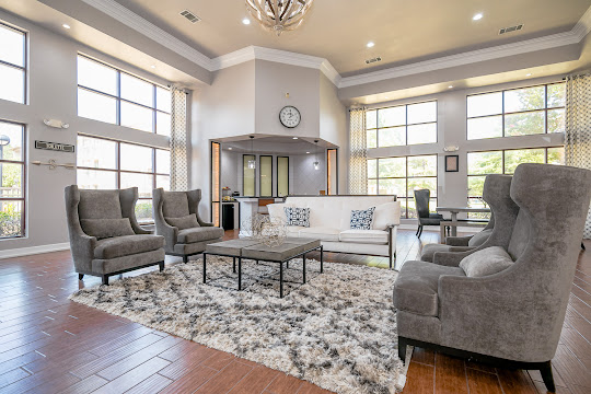Community clubhouse with modern furniture, large windows, plush rug, and decorations