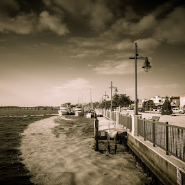 The Waterfront by Robert Mullen - City,  Street & Park  City Parks ( clouds, washington, winter, sailboats, nc, snow, boats, docks, waterfront, north carolina,  )