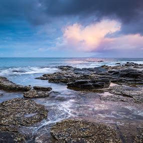 Sunrise over Molokai by Adam Collins - Landscapes Waterscapes ( maui, reef, long exposure, sunrise, hawaii )