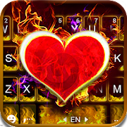 Burning Red Heart Keyboard Theme APK for Bluestacks