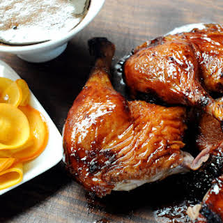 Cherry Porter Glazed Duck with Pickled Persimmons.