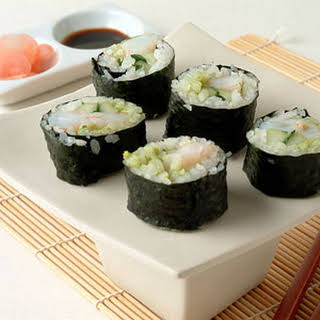 Avocado and Shrimp Sushi.