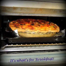 Hot Out Of The Oven! by Becky Luschei - Typography Captioned Photos ( yum, eggs, golden crust, spinach, oven, ham, cook, toaster oven, hot )