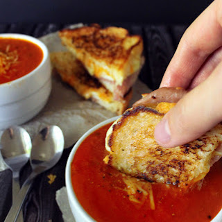 Thick & Creamy Tomato Basil Soup with Prosciutto, Apple & Gruyere Grilled Cheese.
