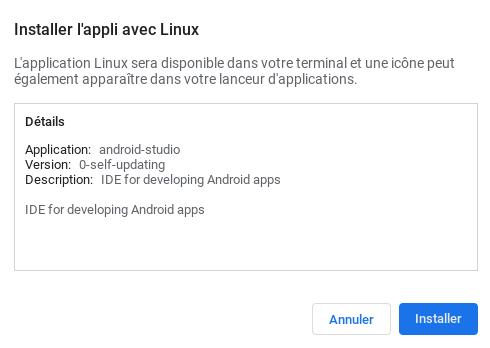 Fenêtre d'information de l'installation d'Android Studio