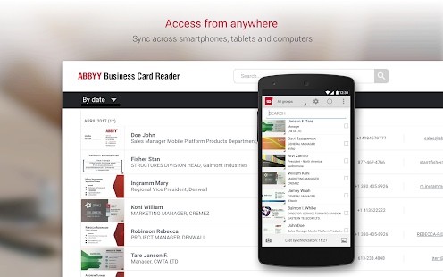 Business card reader free business card scanner apps on google screenshot image reheart