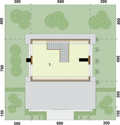 Bari dom letniskowy z poddaszem szkielet drewniany - Rzut poddasza