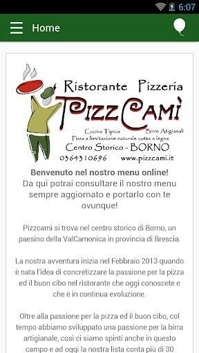 PizzCamì - Menu sempre con te