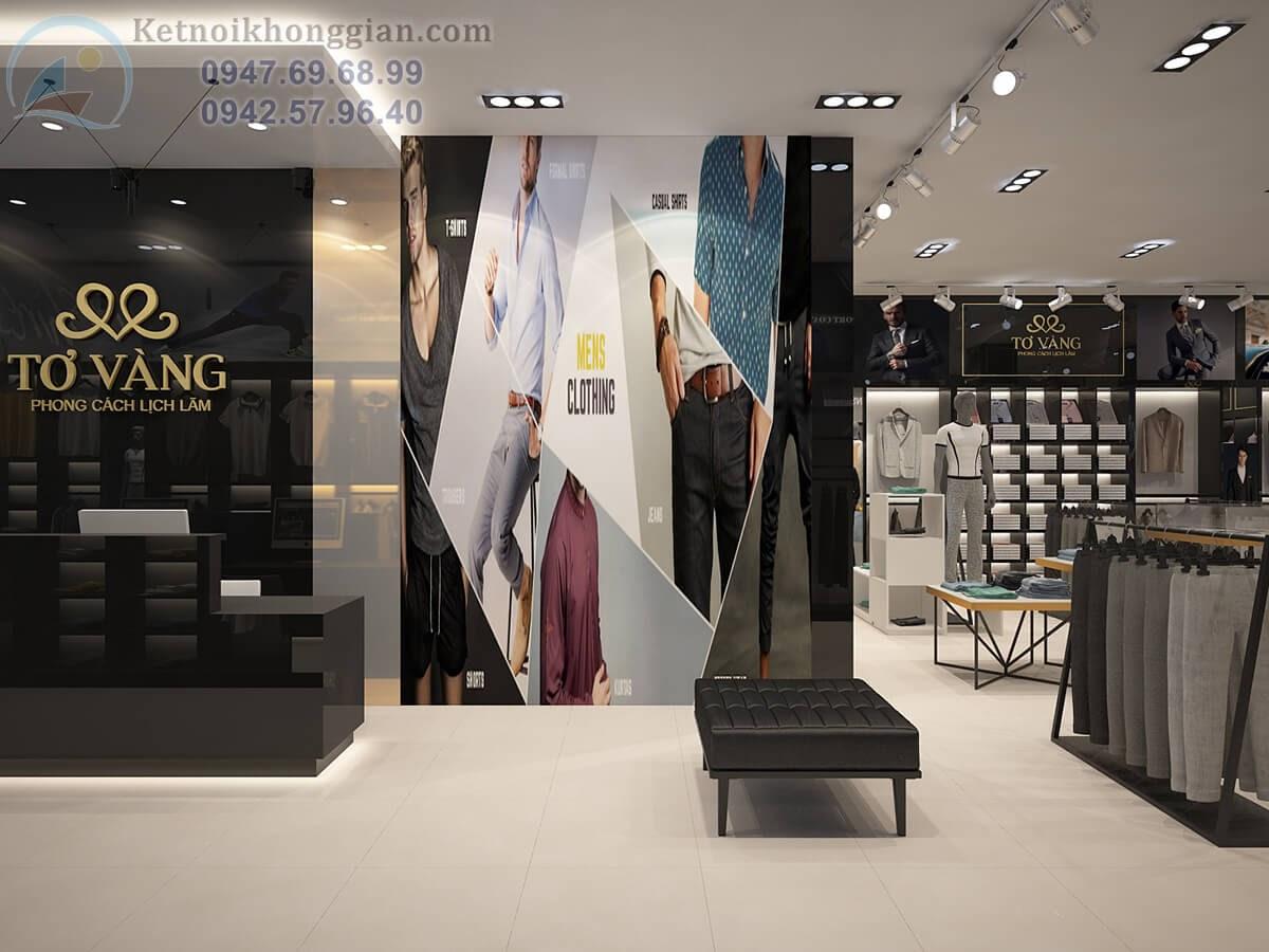 thiết kế cửa hàng thời trang nam lịch lãm