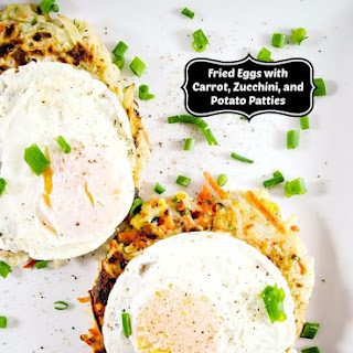 Carrot, Zucchini, and Potato Patties with Fried Eggs