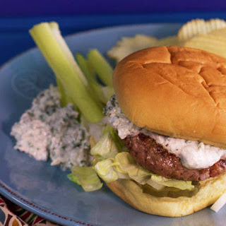 2-to-1 Beef-Bacon Burgers with Blue Cheese and Horseradish Sauce.