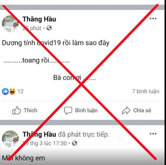V.V.T đăng tải thông tin sai sự thật lên trang facebook của mình