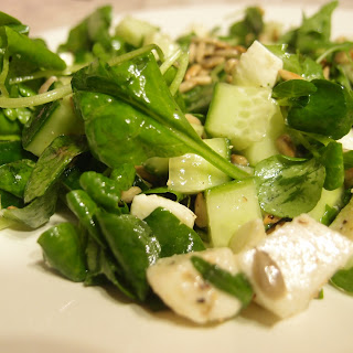 Mix Leaves Salad with Cucumber and Sunflower Seeds Recipe
